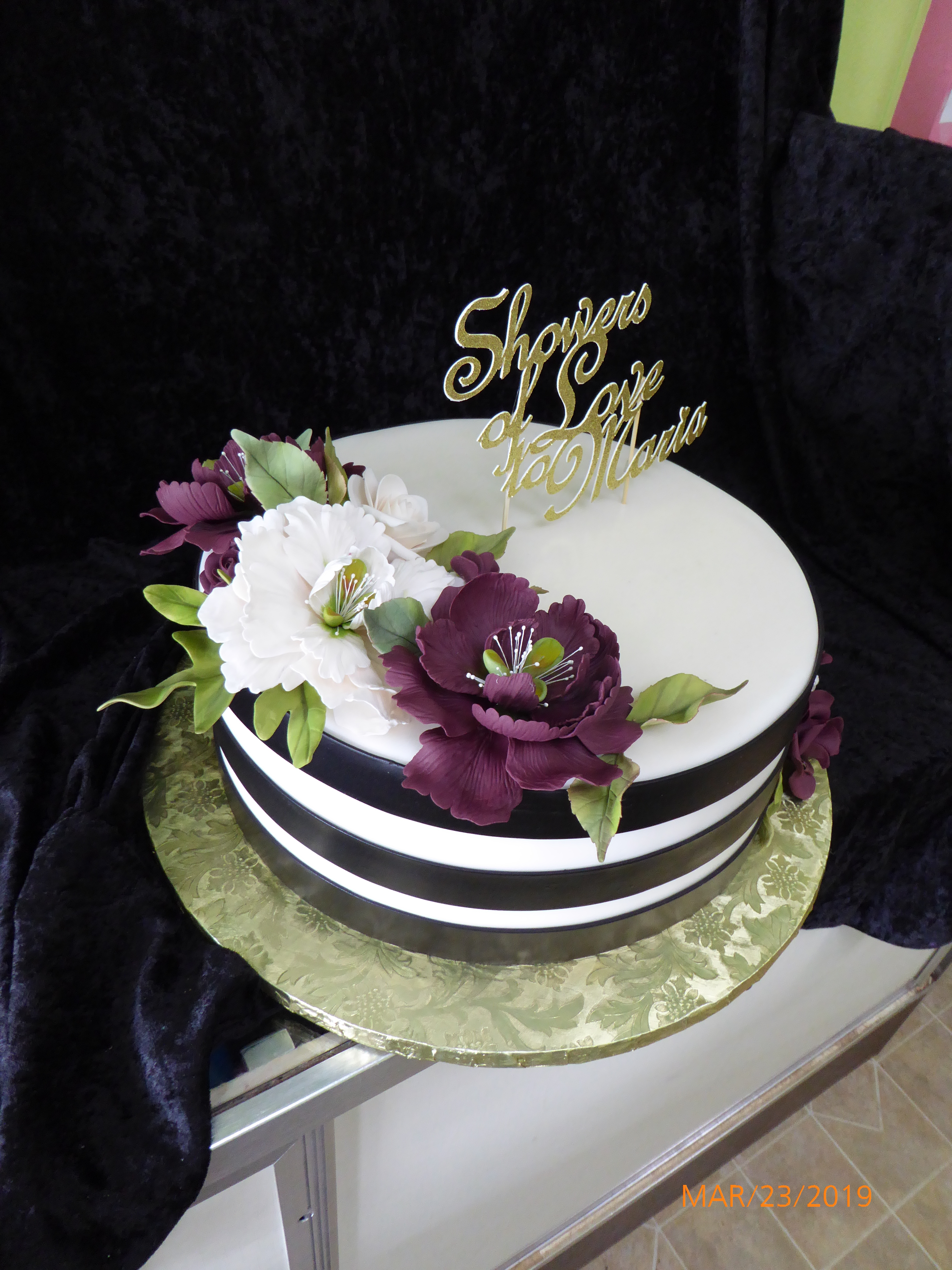 3125, bridal shower, flower, flowers, purple, white, gold, stripe, black