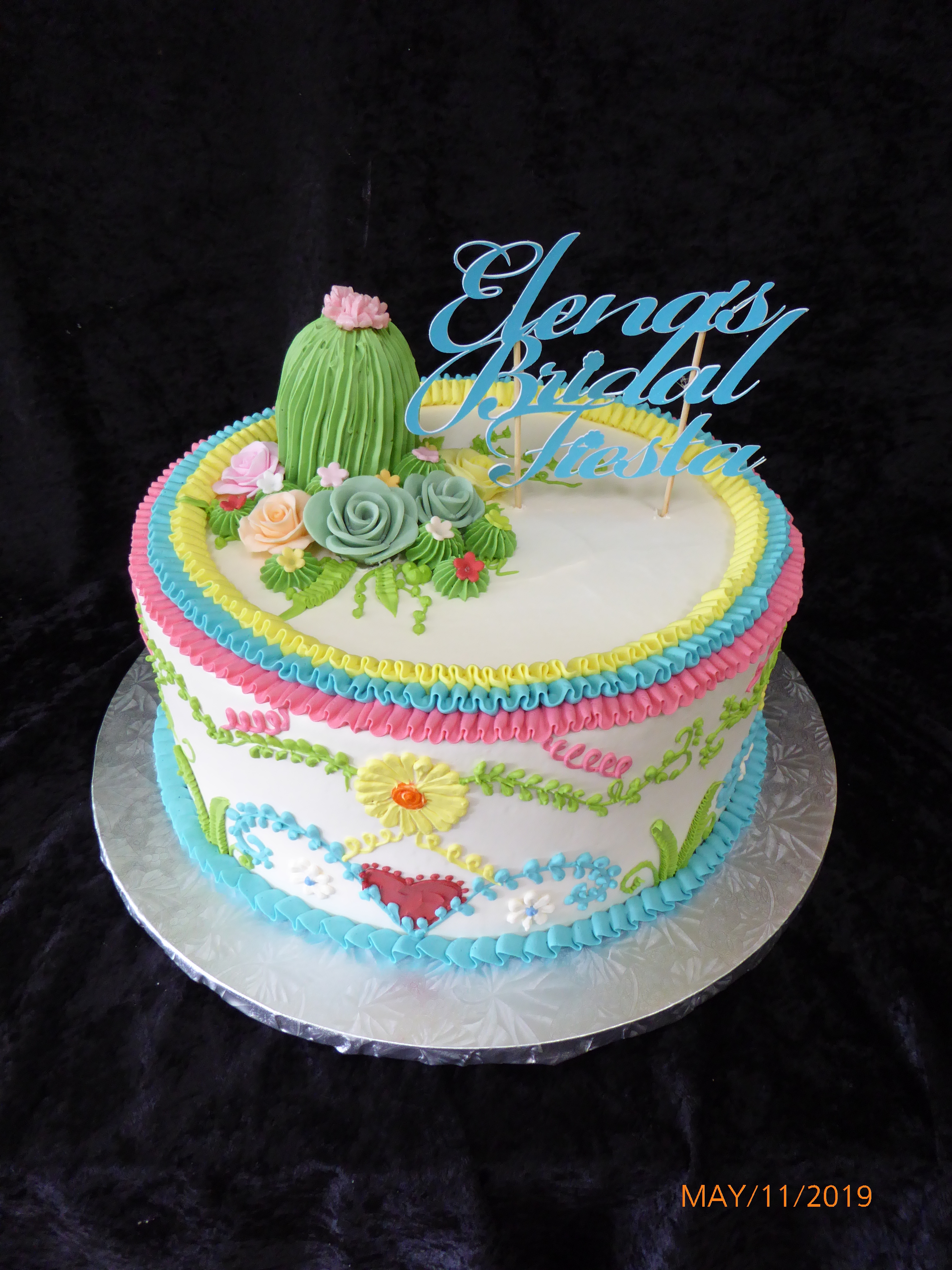 3359, bridal shower, embroidery, fiesta, yucatan, pink, green, blue, yellow, cactus, flower, flowers, heart, hearts