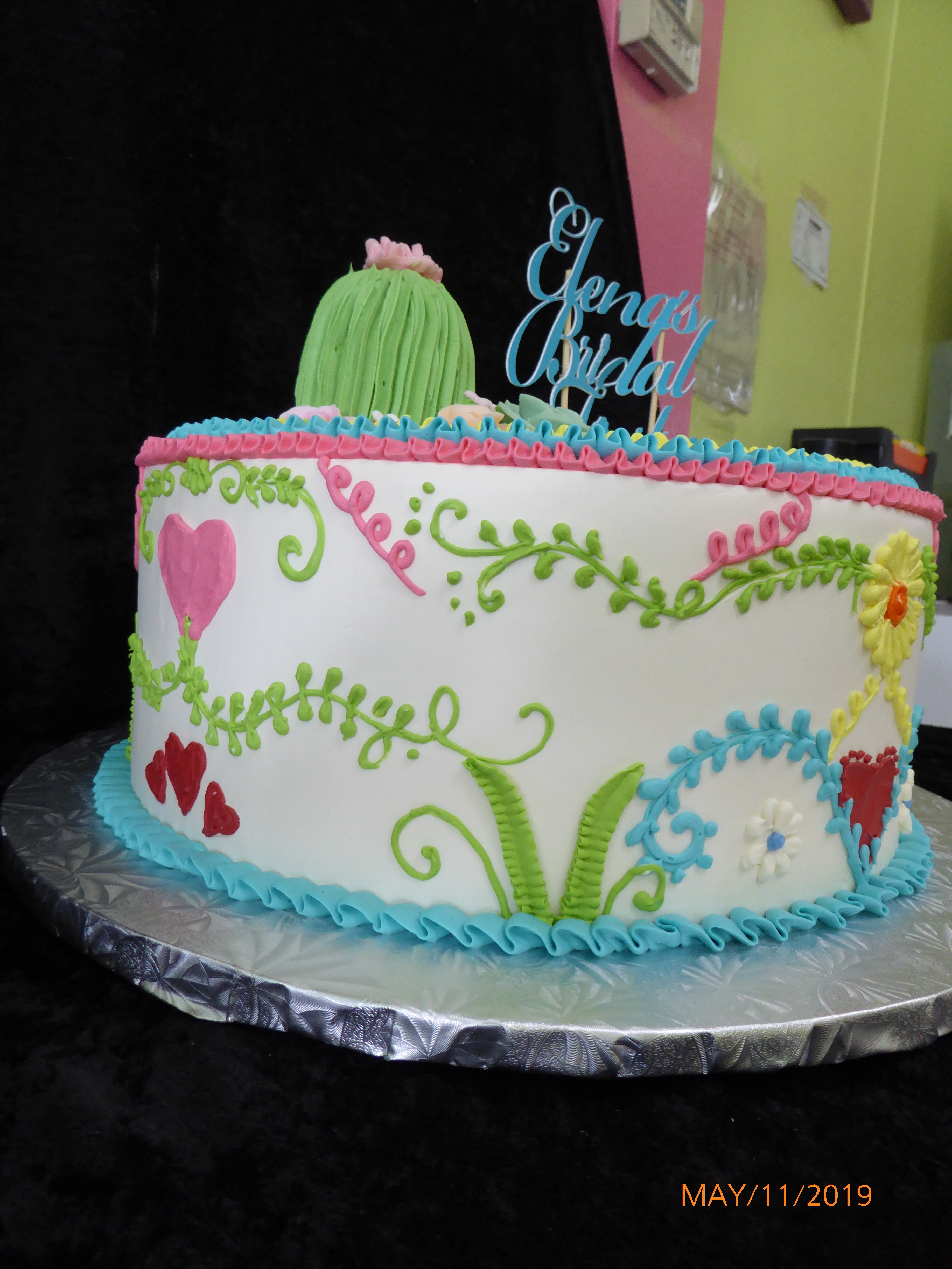 3360, bridal shower, embroidery, fiesta, yucatan, pink, green, blue, yellow, cactus, flower, flowers, heart, hearts