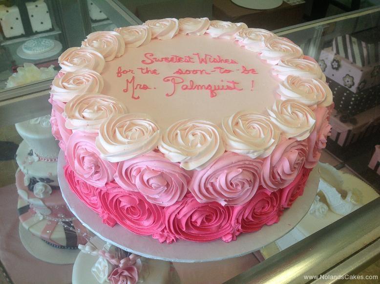 1566, bridal shower, pink, ombre, white, rosette, rosettes
