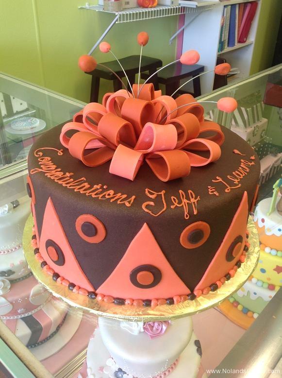 390, brown, pink, orange, coral, ribbon, congratulations, bow, zig zag, argyle, geometric