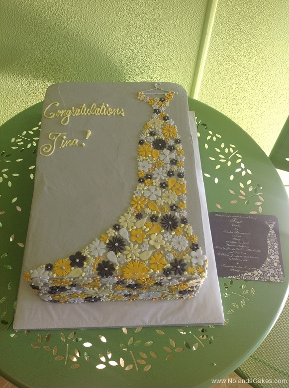 410, floral, dress, flowers, floral dress, grey, yellow, white, congratulations, wedding dress, bride