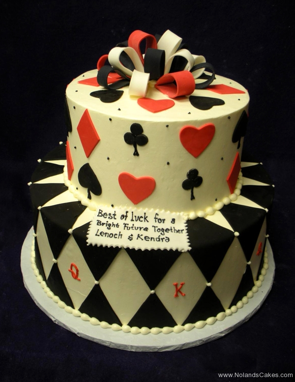 1980, bridal shower, black, white, red, bow, bows, card, cards, heart, hearts, diamond, diamonds, clover, club, clubs, spade, spades, tiered