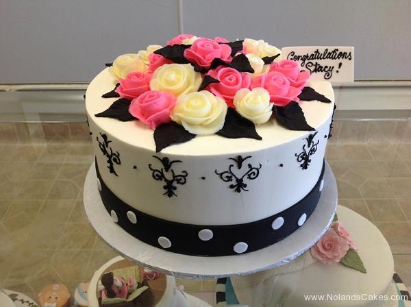 2470, bridal shower, flower, flowers, rose, roses, pink, yellow, white, black, dot, dots