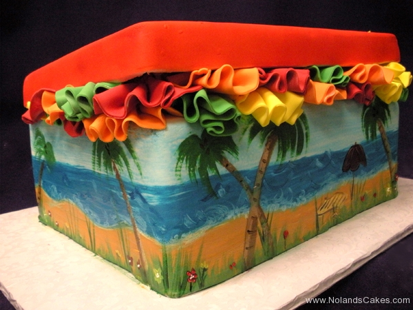 2585, bridal shower, shoe, shoe box, shore, ocean, beach, ruffle, ruffles, yellow, orange, green, red, blue