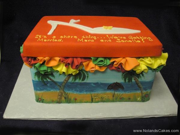 2584, bridal shower, shoe, shoe box, shore, ocean, beach, ruffle, ruffles, yellow, orange, green, red, blue