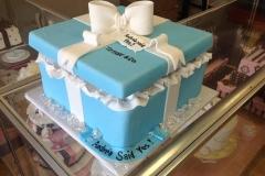 380 present, box, blue, white, square, ribbon, bow, engagement