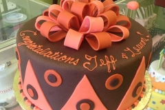 390, brown, pink, orange, coral, ribbon, congratulations, bow, zig zag, argyle, geometric