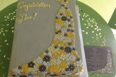 410, floral, dress, flowers, floral dress, grey, yellow, white, congratulations, wedding dress, bride
