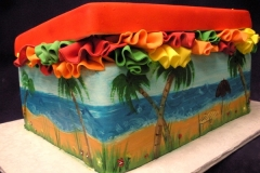 2585, bridal shower, shoe, shoe box, shore, ocean, beach, ruffle, ruffles, yellow, orange, green, red, blue
