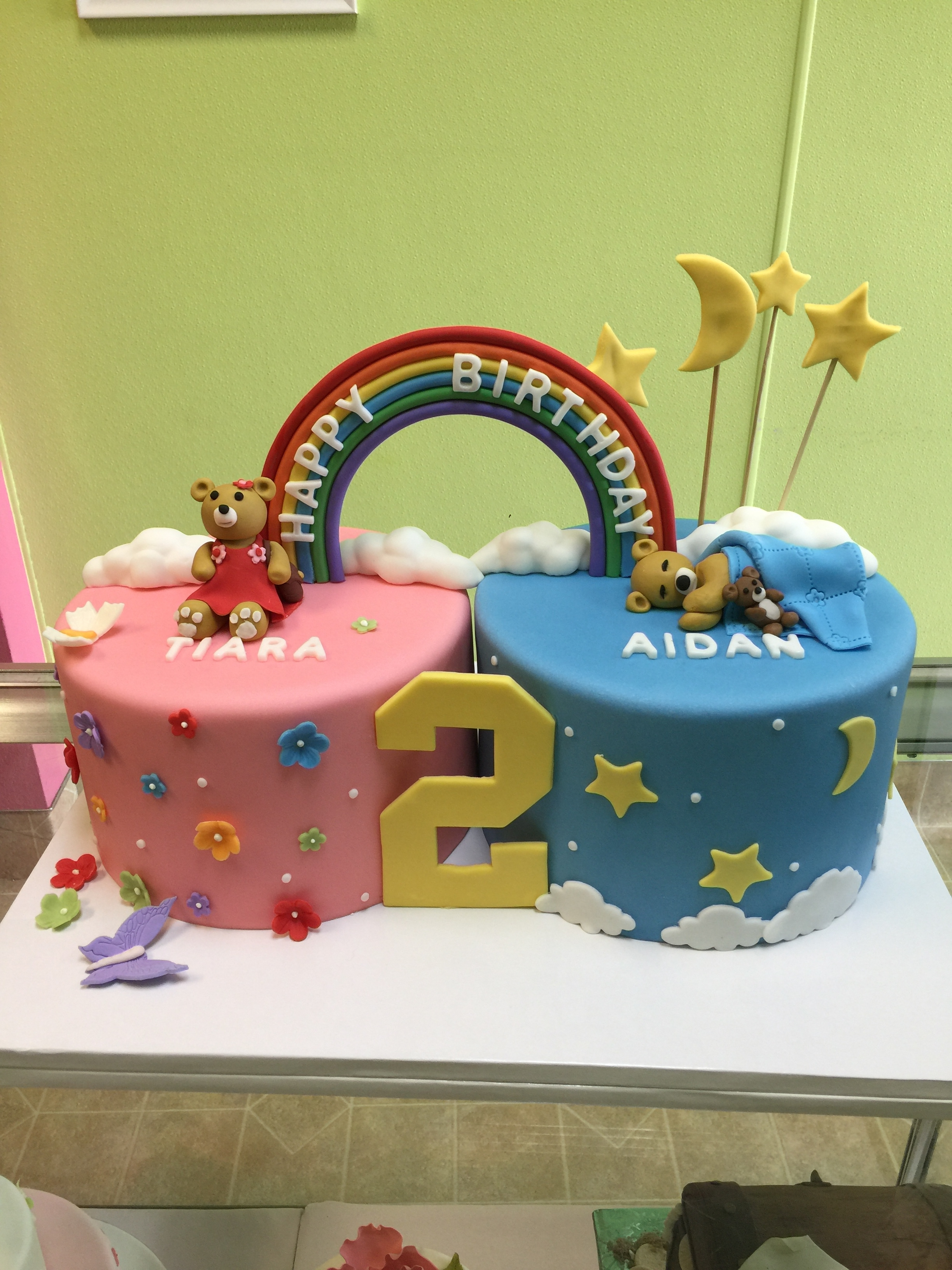 2972, second birthday, 2nd birthday, rainbow, bear, bears, teddy bear, flower, flowers, star, stars, moon, clouds, cloud, twin