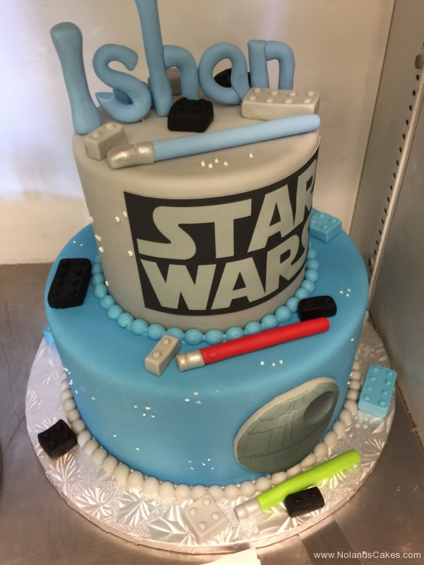 1973, birthday, star wars, jedi, lightsaber, lego, legos, blue, gray, edible image, tiered, death star