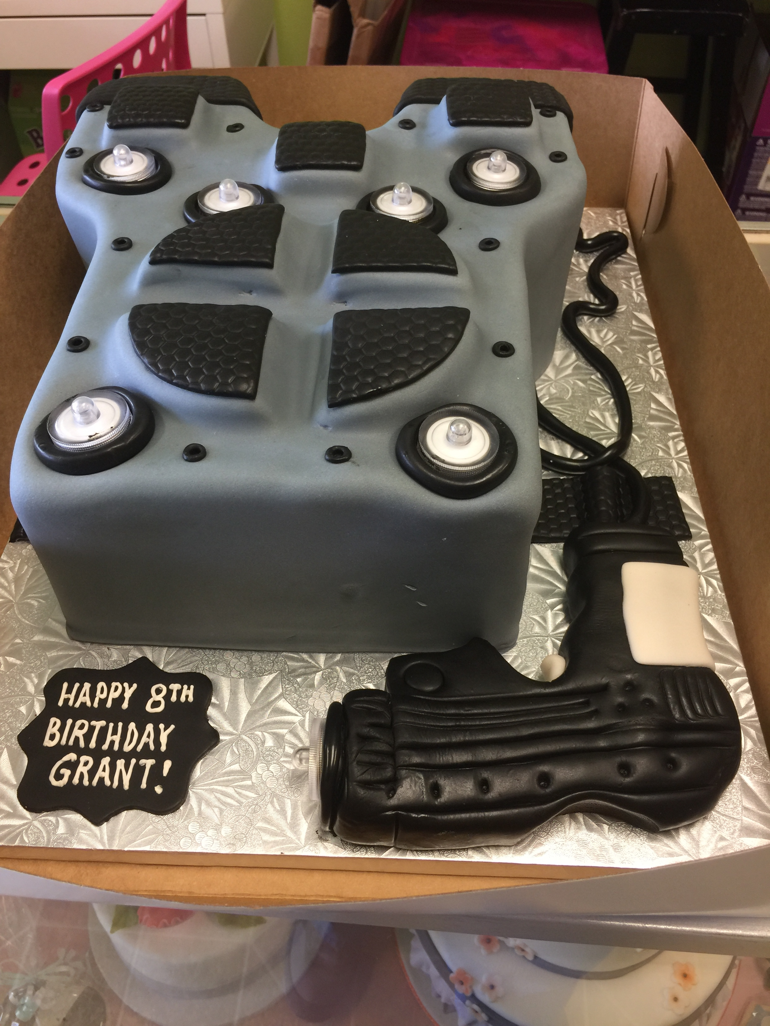 3581, 8th birthday, eighth birthday, laser tag, uniform, gun, gray, black, shirt, carved