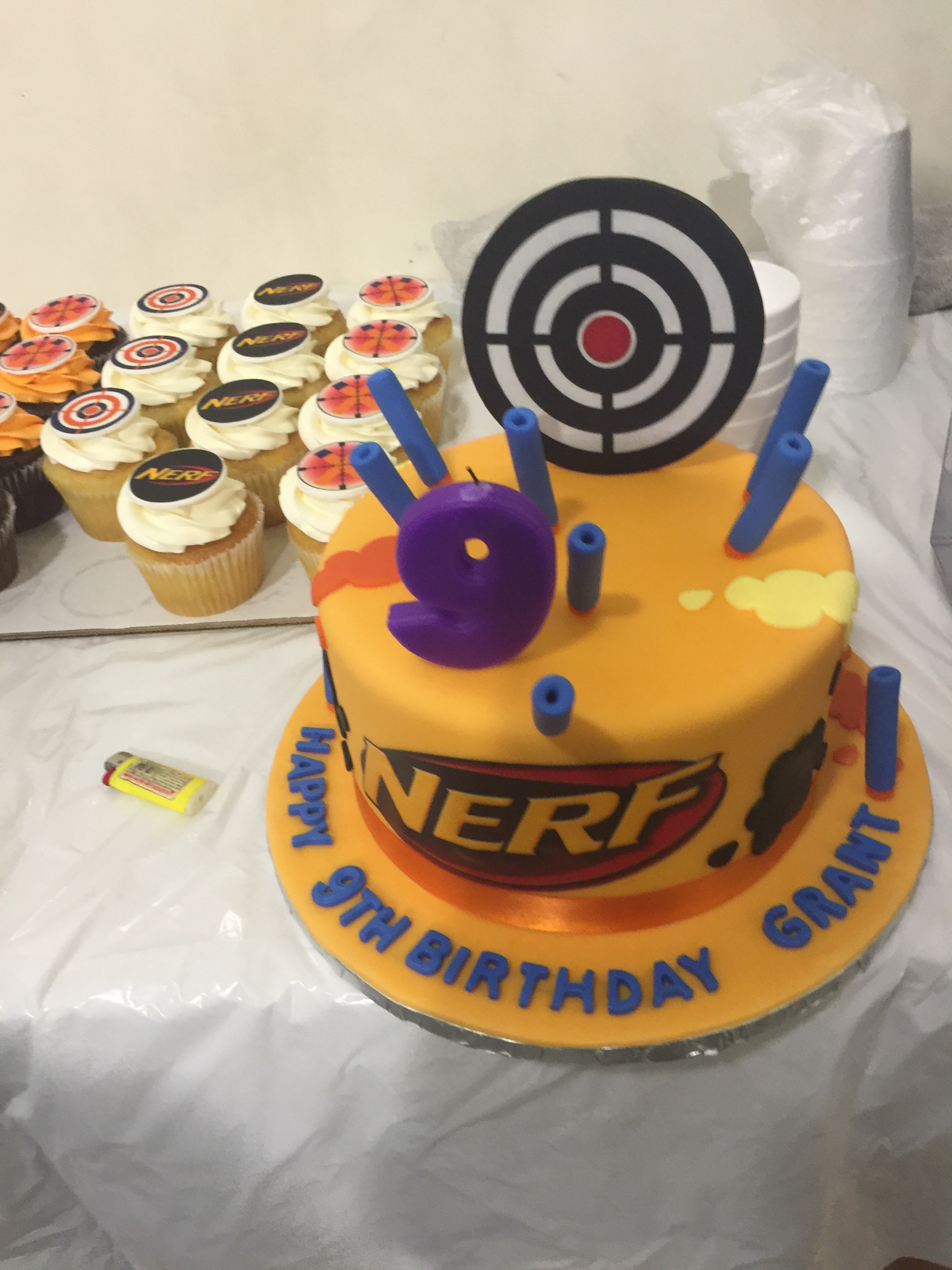 3129, 9th birthday, ninth birthday, nerf, yellow, target, purple, blue, edible image, cupcake, cupcakes