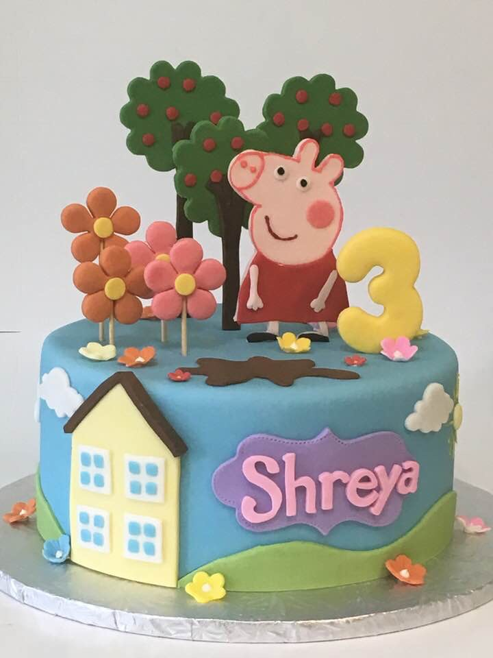 3133, 3rd birthday, third birthday, peppa pig, cartoon, pink, flower, flowers, yellow, blue, tree, trees
