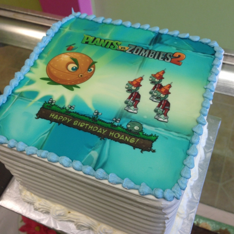 2021, birthday, plants vs zombies, pvz, blue, green, orange, edible image