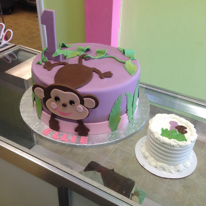 2046, first birthday, 1st birthday, monkey, leaf, vine, leaves, vines, purple, pink, green, smash cake