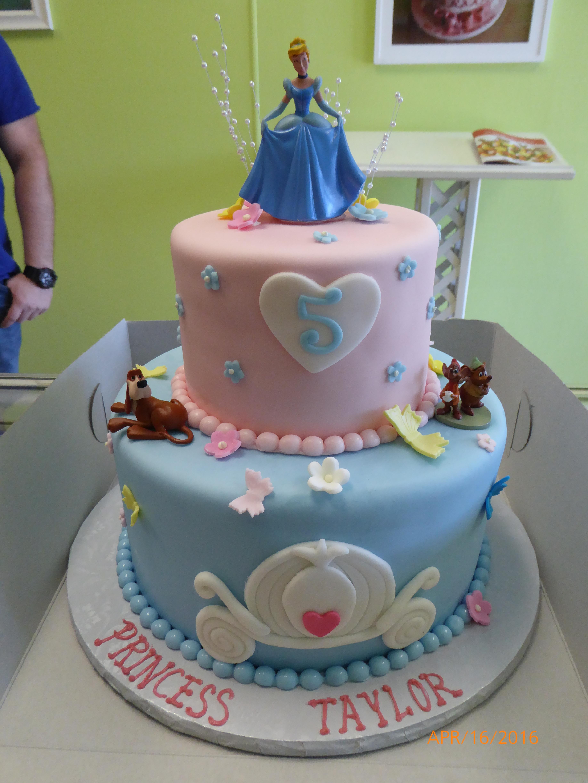 2994, fifth birthday, 5th birthday, disney princess, cinderella, disney, pink, blue, heart, hearts, flower, flowers, tiered