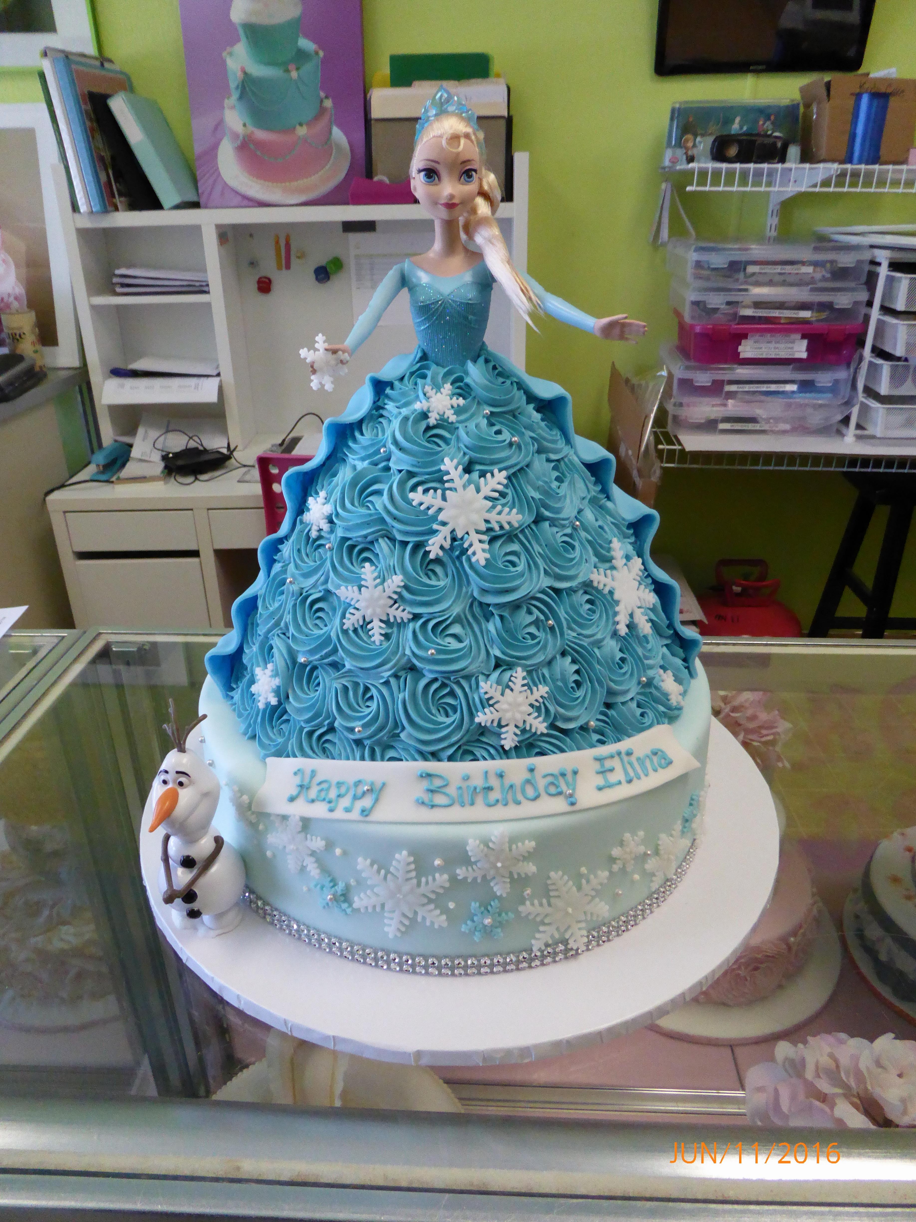 3008, birthday, elsa, frozen, barbie cake, barbie, disney, disney princess, blue, white, snow, snowflake, snowflakes, olaf, tiered, carved