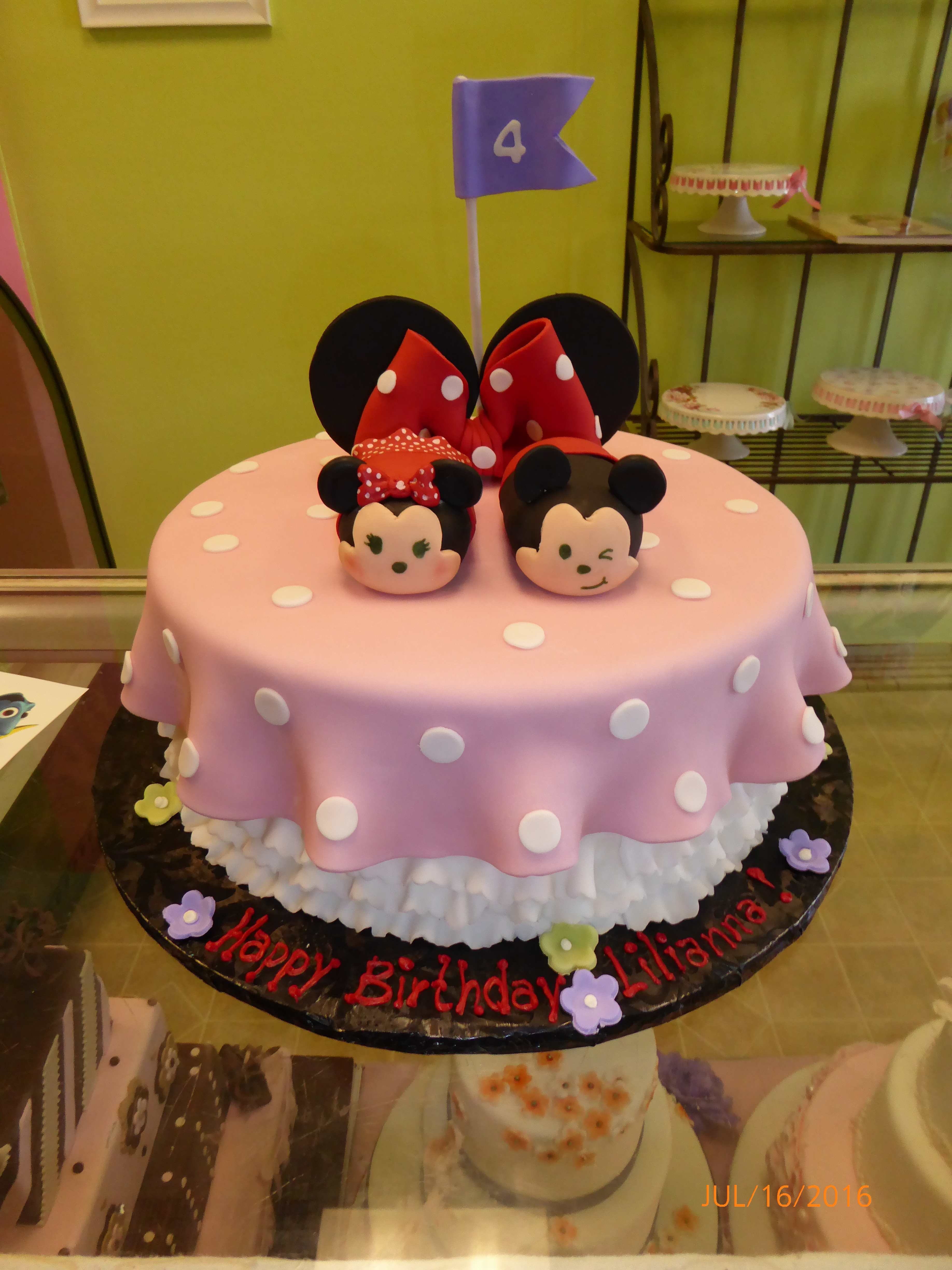 3010, 4th birthday, disney, mickey, minnie, tsum tsum, pink, red, dot, dots, ears, figure, figures