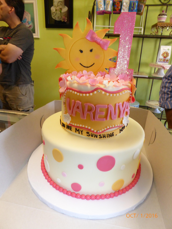 3029, first birthday, 1st birthday, sunshine, you are my sunshine, orange, yellow, pink, dot, dots, glitter, tiered