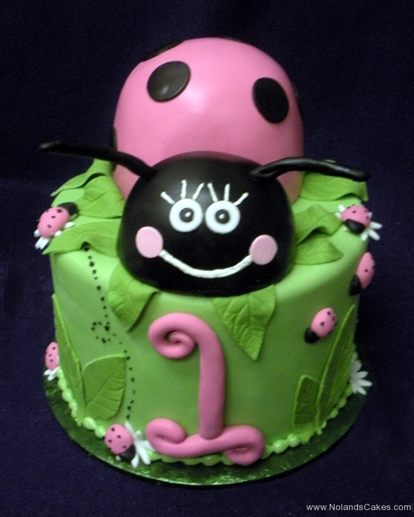 2075, first birthday, 1st birthday, ladybug, lady bug, pink, black, leaves, leaf, flower, flowers,  green, carved