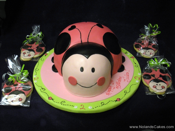 2070, 2nd birthday, second birthday, ladybug, lady bug, pink, green, red, black, cookies, carved