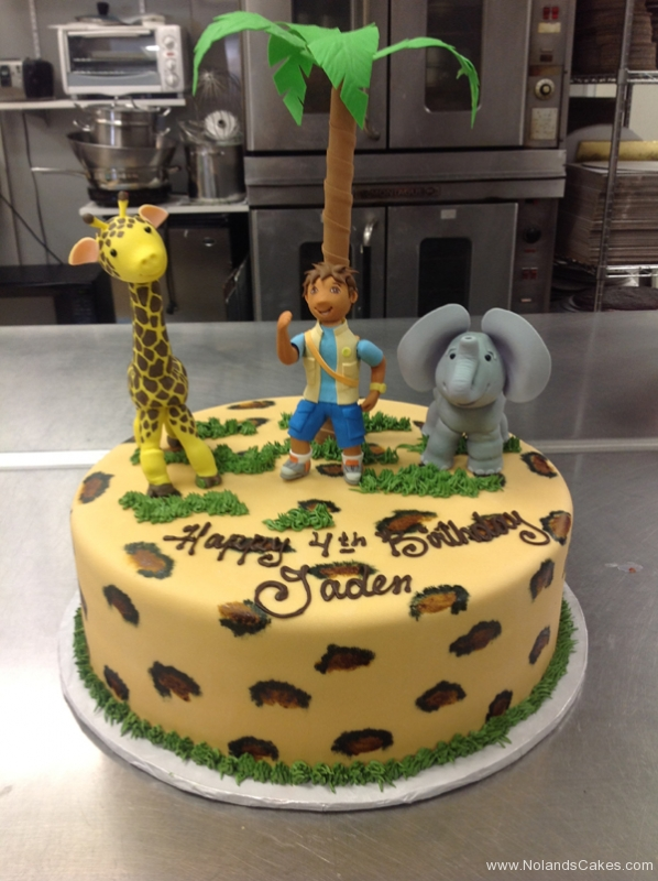 2089, 4th birthday, fourth birthday, dora the explorer, diego, giraffe, elephant, palm tree, leopard print, brown, green, figures