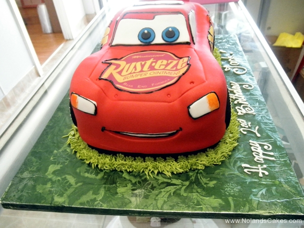 2097, 2nd birthday, second birthday,  lightning mcqueen, cars, car, red, race, racecar, carved, edible image