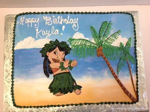 2103, birthday, lilo, lilo and stitch, beach, ocean, water, sea, hula, palm tree, trees, blue, green