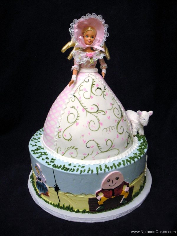 2111, birthday, little bo peep, barbie cake, sheep, lamb, humpty dumpty, little miss muffet, spider, carved, tiered, dress, pink, green, vine, vines