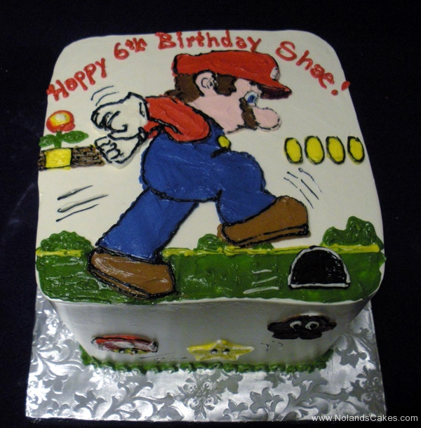 2122, 6th birthday, sixth birthday, mario, super mario, vidoe game, grass, sky, blue, red