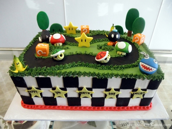 2129, 4th birthday, fourth birthday, mario, mario kart, race, banana peel, mushroom, bomb, green, grass, tree, trees