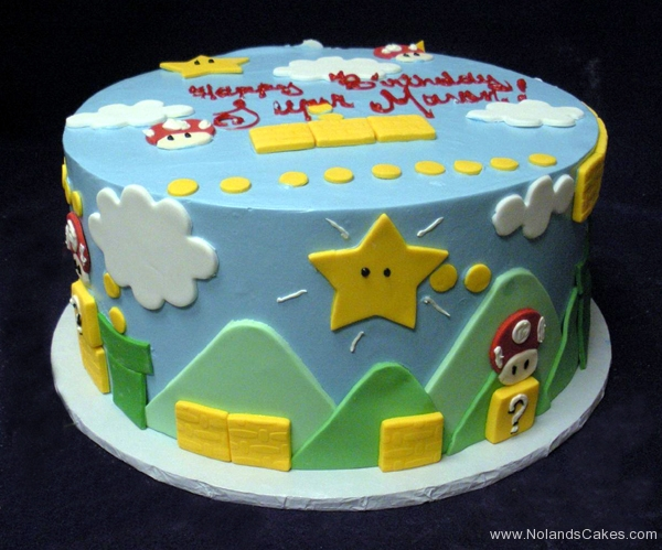 2134, birthday, super mario brothers, star, stars, mushroom, brick, bricks, sky, cloud, clouds, blue, white, yellow, green