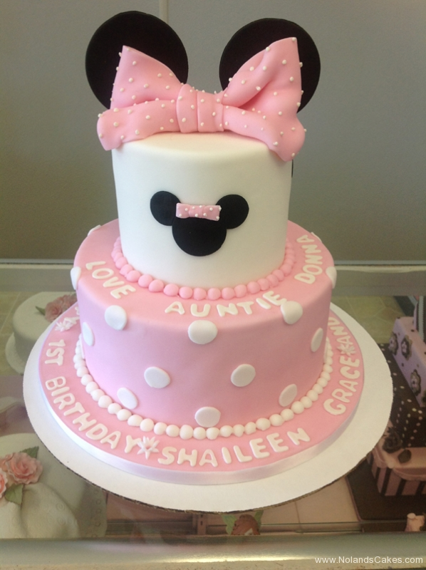 2162, first birthday, 1st birthday, disney, minnie mouse, mickey mouse, dot, dots, pink, white, black, ears, bow, bows, tiered