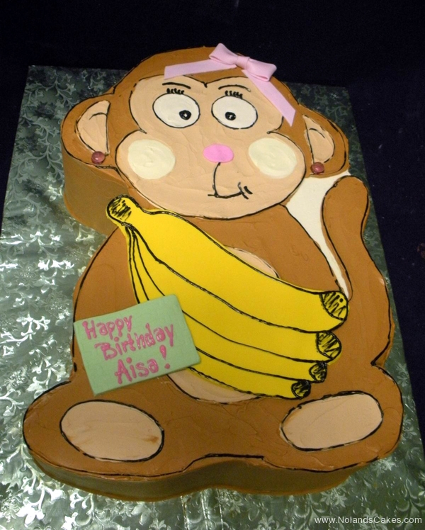 2185, birthday, monkey, banana, bananas, brown, yellow, carved