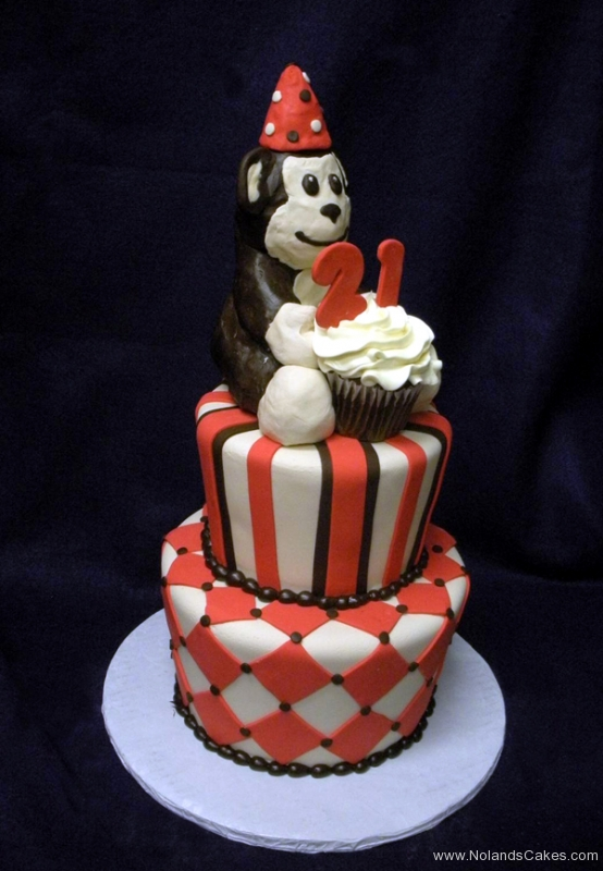 2189, first birthday, 1st, 2nd, 21st, second, twenty-first, monkey, red, black, white, stripe, stripes, diamond, diamonds, cupcake, figure, tiered