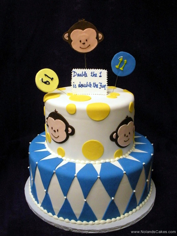 2193, first birthday, 1st, 11th, eleventh, monkey, white, yellow, blue, diamonds, diamond, tiered