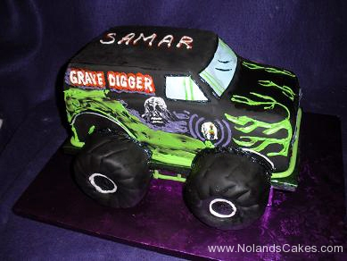 2197, birthday, grave digger, gravedigger, monster truck, truck, carved, green, black, purple