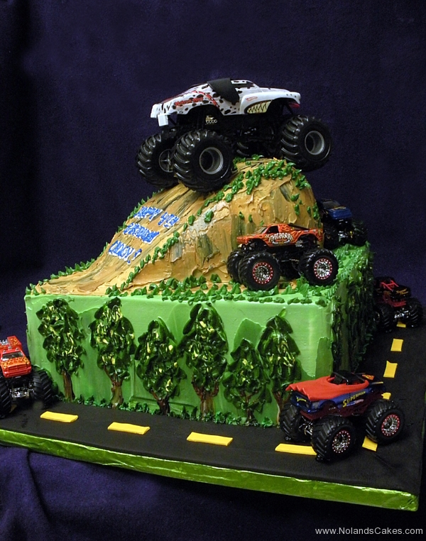 2201, birthday, monster struck, trucks, cars, dirt grass, mud, carved, green, brown