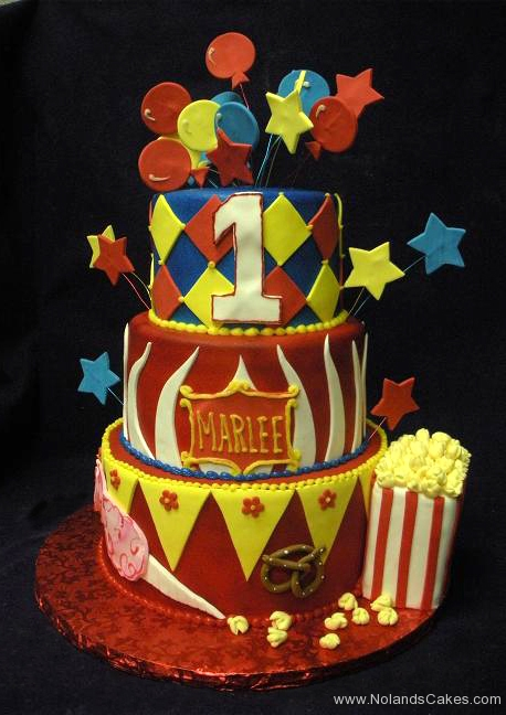 2203, first birthday, 1st birthday, circus, star, stars, diamond, diamonds, popcorn, balloon, balloons, red, yellow, blue, white, tiered