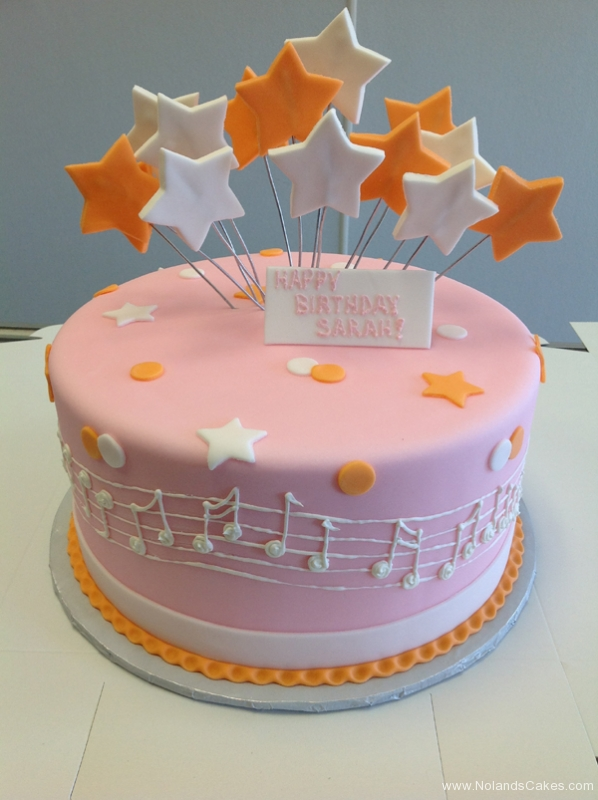 2243, birthday, music, notes, star, stars, dot, dots, orange, white, pink