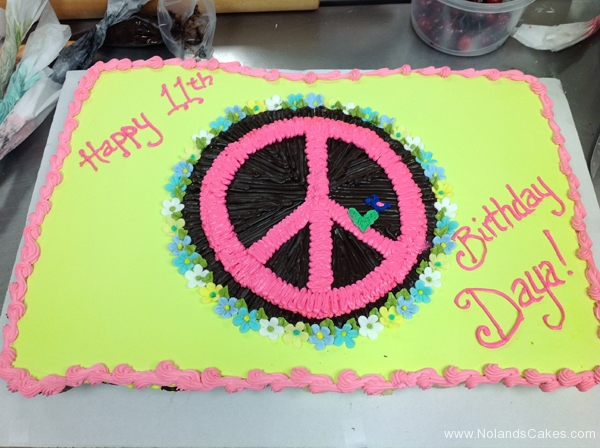 2250, 11th birthday, eleventh birthday, peace symbol, peace sign, pink, black, green, 60's, hippy, hippie