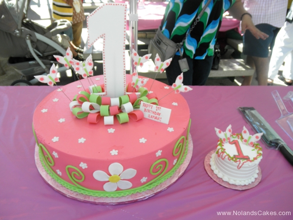 2256, first birthday, 1st birthday, pink, flower, flowers, green, butterfly, butterflies, bow, bows, smash cake