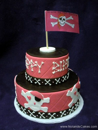 2261, 5th birthday, fifth birthday, skull and cross bones, pirate, red, black, jolly roger, tiered