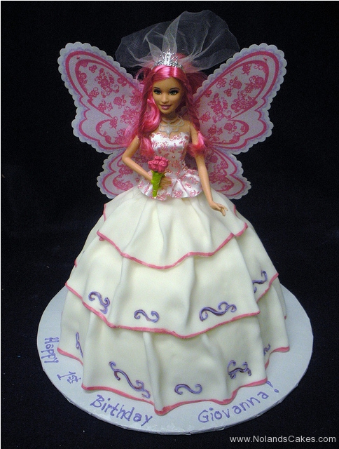 2266, first birthday, 1st birthday, barbie cake, barbie, fairy princess, wings, dress, white, pink, purple, carved