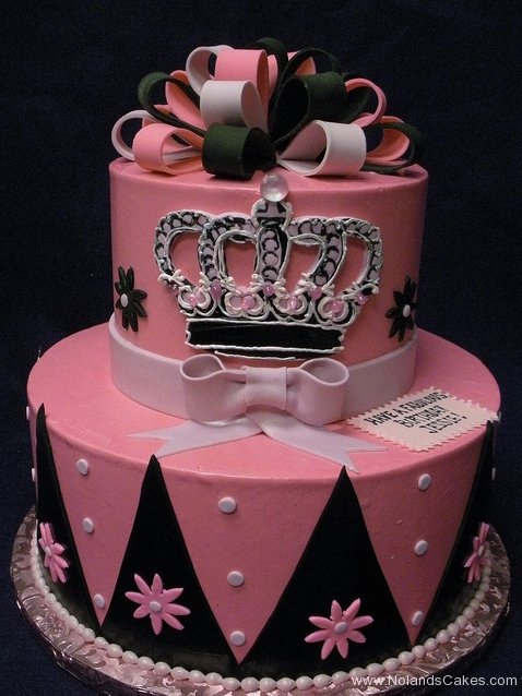 2295, birthday, princess, crown, tiara, pink, black, bow, bows, flower, flowers, dot, dots, diamond, diamonds, tiered