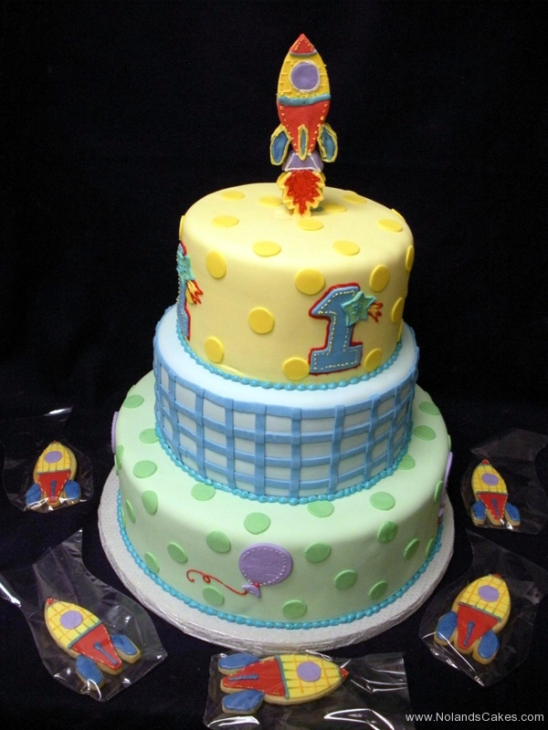2313, first birthday, 1st birthday, dot, dots, rocket ship, plaid, blue, yellow, cookies, tiered
