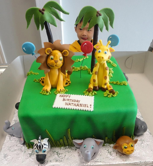 2330, birthday, jungle, zoo, lion, giraffe, zebra, elephant, monkey, hippo, grass, palm tree, trees, balloon, balloons