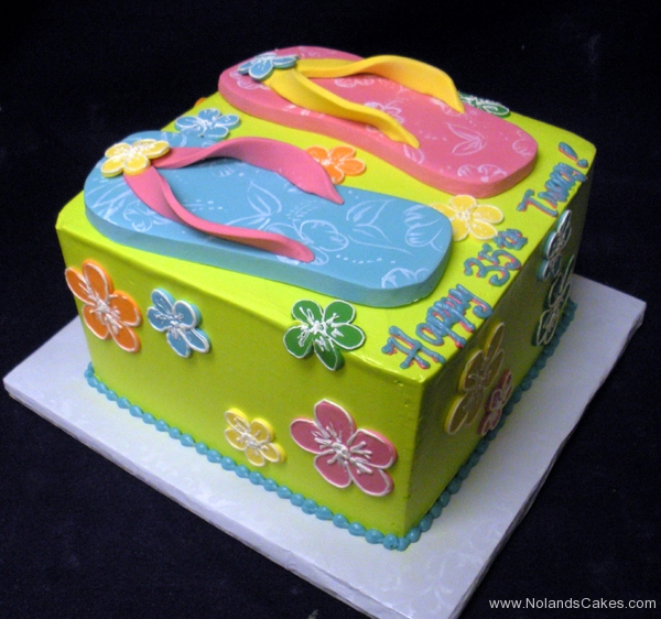 2334, 35th birthday, sandals, sandal, flip flops, hawaii, hibiscus, blue, pink, yellow, green, tropical